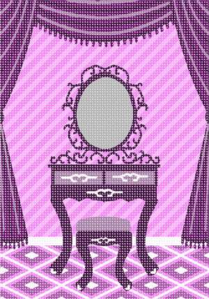A dressing table with mirror. This design coordinates with others in our Home Sweet Home series. A house is made of walls and beams, a home is built with love and dreams. ...