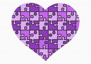 "A heart puzzle in shades of purple. No one knows why the heart is associated with love.  A human heart weighs between 7 and 15 ounces. Our heart beats around 100,000 times a day.  Laughing is good for your heart. A ""broken heart"" can feel like a heart attack."