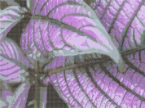 Purple Leaves up close in needlepoint.