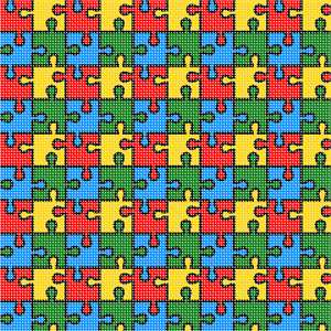 Interlocking puzzle piece pattern.