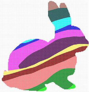 The shape of a bunny filled with colorful stripes.