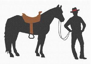 Horse and cowboy silhouette