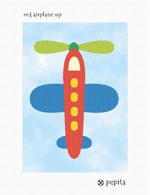 A red airplane flying in the sky.  See coordinating designs that are delightful for a boy's bedroom decor.