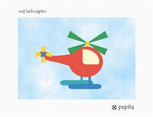 A red helicopter flying in the sky.  See coordinating designs that are delightful for a boy's bedroom decor.