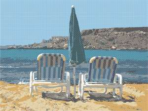 Relax at the beach while you stitch this needlepoint this season.  Watch the glistening waves and smell the sea air. Hear the waves crashing into the sand as you doze. Open the beach umbrella when the sun's rays are strongest.  Most of all, relax.