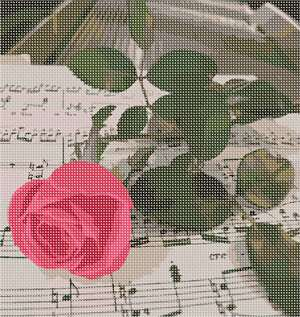A romantic needlepoint with a long stemmed rose resting on sheets of music. Stitch for the music lover in your life;=.