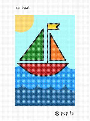 A wee little sailboat floating on the sea. This is perfect for a beginner. Even a young child can try this sailboat kit.  The primary colors make the sailboat stand out against the waves.