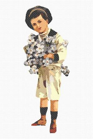 A smartly dressed little boy offers the observer some flowers.