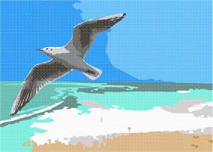 The gull glides above the crashing surf.