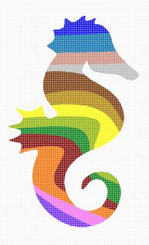 The shape of a seahorse filled with colorful stripes. There are many animals in our palette silhouette series. This seahorse is adorable and perfect for a beginner. Purchase as a kit, or buy just the plain canvas if you have many color threads in your stash.