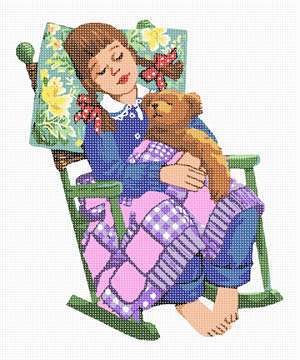 A cherubic girl is dozing with her teddy on a green rocking chair.  Her braided hair is adorned with red and white polka dot ribbon bows. She is covered in a patchwork quilt, and her head is resting on a floral pillow.