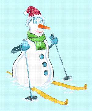 Whimsical snowman geared up for a ski trip