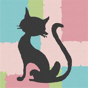This black cat silhouette resembles spray paint or graffiti wall art.  This cat is a cute one!  There is a difference is spray paint and graffiti. Spray paint art is an art form using spray paint, traditionally on posterboard, but can be done on any non-porous material, such as wood, metal, glass, ceramic or plastic. It differs from graffiti art in that graffiti is performed on buildings, trains and the like, as opposed to more traditional art surfaces.