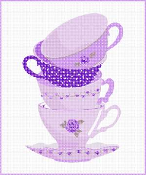 Dainty cups stacked in hues of violet