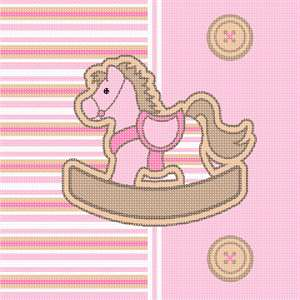 Front of a striped horsie baby stretchie. Soft pastel stripes, rocking horse, and buttons.