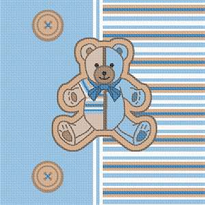 Front of a striped teddy baby stretchie. Soft pastel stripes, teddy bear, and buttons.