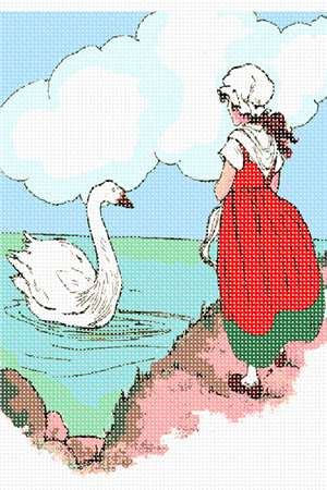 A young maiden observes a swan, swimming placidly in the green waters of an unknown sea.