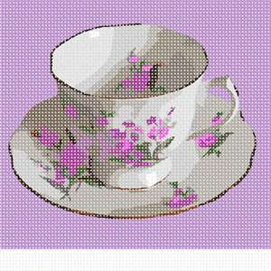 A teacup and saucer, in lavender-themed colors. Based on a photo by Lydia Kisch.