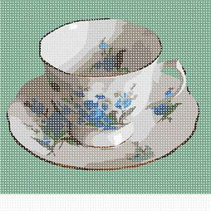 A china teacup and saucer. Based on a photo by Lydia Kisch.