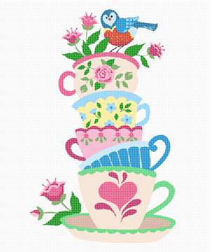 Stack of vibrant teacups with flowers and a bird