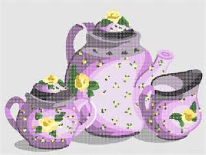 A matching set of florally decorated china: one for tea, one cream, and one sugar, in shades of lavender.