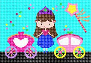 Which little girl can resist an adorable princess, her magic wand, and her two carriages?  Magic dust stars are scattered throughout.  The princess stands proudly wearing her crown. Available in pink and purple princesses too. If colors are a favorite for the princess in your life, go for it!