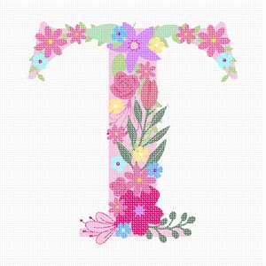 Pastel colored flowers cascading from the alphabet