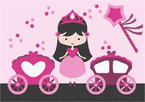 Which little girl can resist an adorable princess, her magic wand, and her two carriages?  Magic dust stars are scattered throughout.  The princess stands proudly wearing her crown. Available in purple and colorful princesses too. If pink is your the favorite color of the princess in your life, go for it!