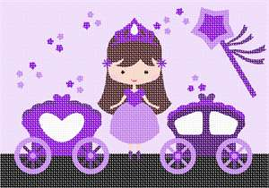 Which little girl can resist an adorable princess, her magic wand, and her two carriages?  Magic dust stars are scattered throughout.  The princess stands proudly wearing her crown. Available in pink and colorful princesses too. If purple is your the favorite color of the princess in your life, go for it!