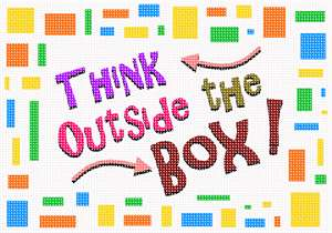 "Boxy and colorful border surrounds the slogan ""Think Outside the Box."""