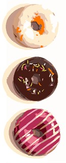Three colorfully decorated donuts.