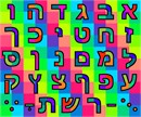 Aleph Bet letters bursting with color.