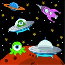 Aliens in outer space needlepoint.  An alien and spaceship land on Mars.  Another planet orbits in the distance.  A rocket ship races by.  The sky is a galaxy with twinkling stars scattered.