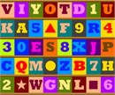Letters and shapes in colored boxes.
