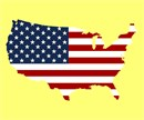 A map of the USA with the American Flag pattern