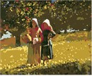 Two girls picking apples in the autumn sun.