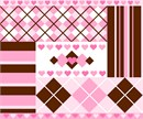 Argyle and striped pattern strips. Hearts and diamonds complete the design.