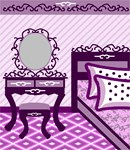 A bedroom scene in shades of purple.