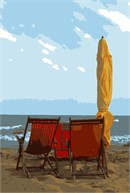 Two beach chairs, a folded umbrella, at the beach.