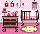 Stitch a baby girl nursery with a crib, mobile, dresser, lamp, diaper bag, and an adorable doll.