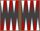 Backgammon board, red and white triangles on charcoal background.