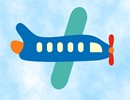 A blue airplane flying in the sky.  See coordinating designs that are delightful for a boy's bedroom decor. Everyone young and old is fascinated by airplanes in all shapes and sizes.