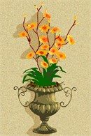 A bronze urn, green foliage and orange flowers.