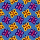 A whimsical pattern of colorful butterflies.