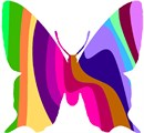 A butterfly shape painted with colorful stripes.