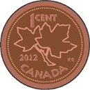 The one-cent piece from Canada depicting the maple leaf design. Discontinued by the Royal Mint in February 2013.  If you or someone you know is Canadian, this project is perfect.