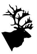 A caribou silhouette with magnificent antlers