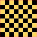 A standard checker board, in yellow and black.