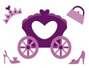 Cinderella's carriage stitched in purple along with shoes, a crown, and a purse.