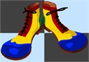 Clown shoes in fingerpaint colors.